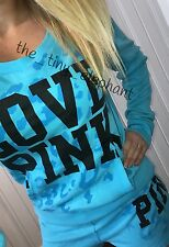 Victoria Secret Love Pink Blue Cheetah Crew Pullover T Shirt Sweat Shorts Set L