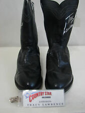 Vintage TRACY LAWRENCE Justin Worn & Autographed Black Western Boots 10.5D
