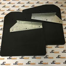Land Rover 90 110 130 Pair of Defender Front Mud Flaps with Galvanised Brackets