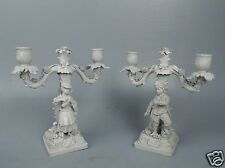 Pr Figural French Bisque Porcelain Candelabra W Sevres Type Mark - EX DUPONT pc