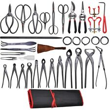 35 PCS Bonsai Tool Carbon Steel Shear Set Kit Scissor Pliers Cutter Saw w/C