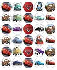 30x Cars Edible Cupcake Toppers Lightning Mcqueen Disney Wafer Fairy Cake Topper