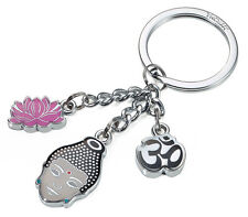 Troika Metal Keyring MINDFUL BUDDHA WITH 3 CHARMS pink key chain ring cast alloy