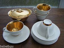 LOT TASSES SOUCOUPES SUCRIER ANCIEN ANNEES 50 porcelaine LIMOGES blanc or