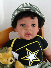 "Reborn 22"" African American/Ethnic/Biracia Toddler Boy Doll Tyrone ""Army Strong"""