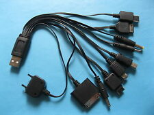 2 set USB Charge Cable with 10 DC Adapters for Cell Phones PSP MP3 Black Kit