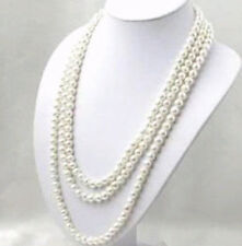 SUPER LONG 100 INCH 7-8MM WHITE AKOYA CULTURED PEARL NECKLACE   G-132