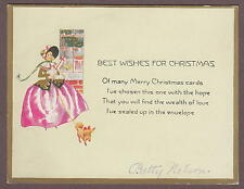 Best Wishes For A Merry Christmas 1920 Card Art Deco Fancy Lady With A Dog