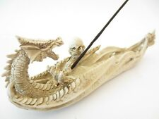 Fantasy White Dragon with Skull Resin Ash Catcher Incense Holder