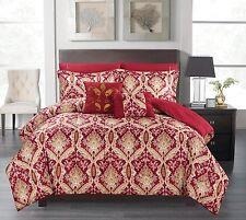 Comforter Set 7PCS Reversible(QUEEN,BURGUNDY)