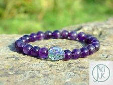 Men's Amethyst Skull Bracelet with Swarovski Shine Crystal 7-8inch Elasticated