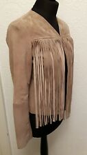 aviatrix suede goats skin leather fringed jacket size S or UK 10 new with tags