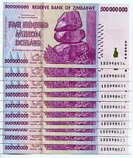 ZIMBABWE 2008 500 MILLION  MONEY BANKNOTE UNC - P 82 - CURRENCY AB x 10 PIECES