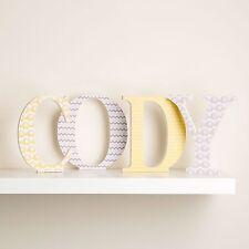 Personnalisé en bois lettres jaune et gris éléphants design pour neutre nursery