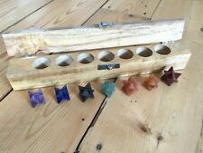 CHAKRA MERKABA HEALING CRYSTAL GEMSTONE SET WOODEN GIFT BOX REIKI NEW AGE