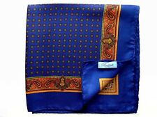 Battisti Pocket Square Royal blue with gold paisley, pure silk