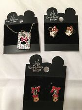 Walt Disney World Authentic Lot 7 Minnie Mouse Necklace  Post & Dangle Earrings