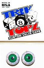 Trick Top Schrader Valve Caps / Green Eyes NEW!
