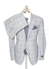 Men's CORNELIANI Gray Plaid 15.75 Micron Wool 2Btn Flat Front Suit 54 7R 44R NWT