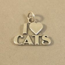 .925 Sterling Silver 3-D I Love Cats Heart Charm New Pendant Words 925 Ca18