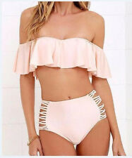 Lady Strapless Swimwear Padded Ruffle Bra Bandage Swimsuit Beachwear Bikini Set