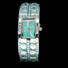 Bangle Style Turquoise Plated Iced Out Crystal CZ Hip Womens Cuff Luxury Watch