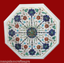 "12"" White Marble Coffee Table Handmade Pietra dura Art Home Decor For Gift"