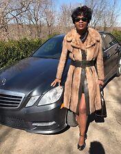Designer Fabulous Full Length Sable color Mink Fur & Leather Coat Jacket S 0-4/6