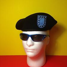 US Army Black Beret, Wool, With Blue Flash
