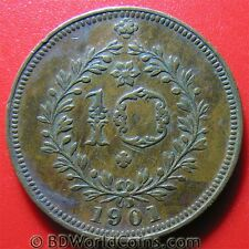 AZORES 1901 10 REIS NICE DETAILS PORTUGAL PORTUGESE COLONY COLONIAL COPPER 30mm