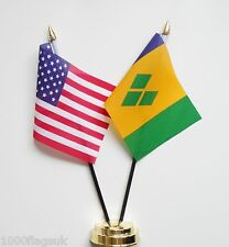 United States USA & Saint Vincent and the Grenadines Friendship Table Flag Set