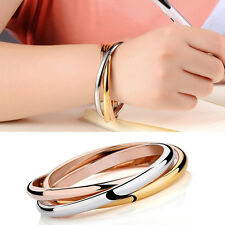 Simple Fashion Tri-colour Three Ring Stainless Steel Cuff Bangle Bracelet Women