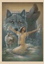 Cross Stitch Chart - Native American Indian Girl and wolves No 140 TSG37