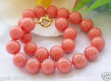 """8mm Round Coral Pink South Sea Shell Pearl Necklace 18""""AAA"""