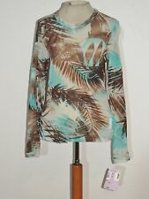 Karen Kane Brown / Turquoise Semi Sheer Knit Top NWT sz LG