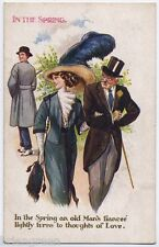 In the Spring and Old Man's Fiancee thinks of Love vintage comic postcard - 1915