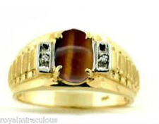 Mens Tiger's Eye & Diamond Ring 14K Yellow Gold Role X Style