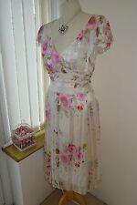 NUOVO Donna Graziosa Phase Eight Romantico Bianco Rosa Rose Di Seta Svolazzante Vestito UK 12