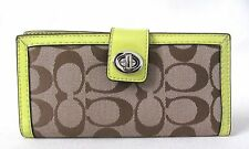 Coach Parker Turn-lock Khaki Signature Yellow Patent Leather Trim Slim Wallet