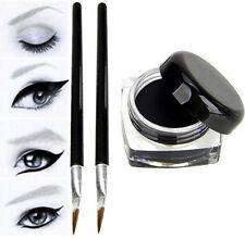 2X NEW Waterproof Black Eye Liner Eyeliner Shadow Gel Makeup Cosmetic +Brush Set