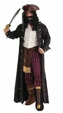 Full Length Long Captain Pirate Coat Costume Black Faux Suede Adult Men Std Gold