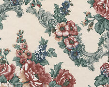 Satin Pretty Mixed Flower Textured Vinyle Red Blue Floral Double Roll Wallpaper