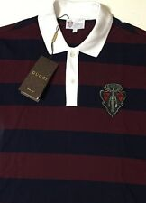 NWT GUCCI Men's 388625 STRIPED COTTON PIQUE W/CREST S/S POLO SHIRT Size MEDIUM