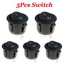 5 X Car 12V ON/OFF Round Rocker Boat Toggle Switch + Waterproof Cover Black