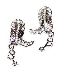 EARRINGS Pierced Posts Clear Rhinestones LITTLE COWBOY BOOTS & SPURS