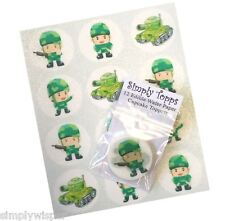 12 Soldier Tank Army Cupcake Toppers precut 40mm Edible Cake decorations