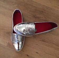 Via Giulia Womens Shoes Ladies Silver Glitter Flat Shoes Size Uk 5/6 Eu 38