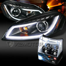 06-13 Chevy Impala Black LED DRL Bar Projector Headlights+H1 Halogen Bulbs