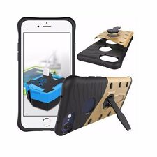 For Apple iPhone 7 Plus Hybrid Color Cover Case w/ 360 Kickstand+Tempered Glass