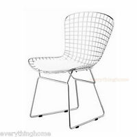 BERTOIA STYLE DINING SIDE CHAIR WHITE PAD MODERN CAFE STEEL WIRE CHROME MESH